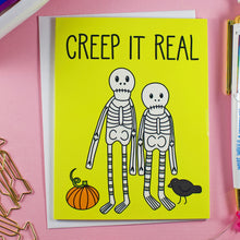 Load image into Gallery viewer, Creep It Real Skeletons Blank Greeting Card