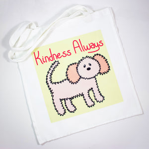 Kindness Always Fluffy Dog Poly Canvas Tote Bag