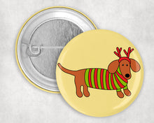 "Load image into Gallery viewer, Festive Doxie 1.75"" Pin"