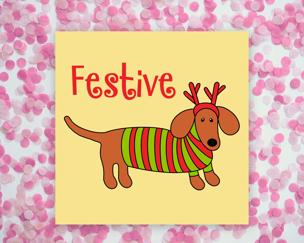 Christmas Festive Doxie Square Mini Print/ Postcard