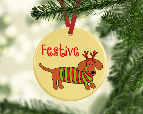 Festive Doxie Ceramic Christmas Ornament