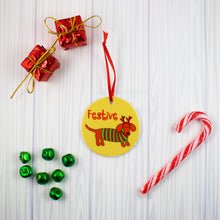 Load image into Gallery viewer, Festive Doxie Ceramic Christmas Ornament