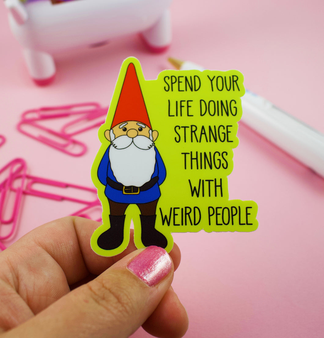 Happy Gnome Vinyl Sticker With Text