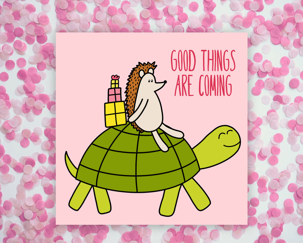 Good Things Are Coming Hedgehog Square Mini Print/ Postcard