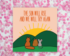 The Sun Will Rise Animals Square Mini Print/ Postcard