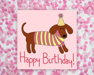 Happy Birthday Dachshund Square Mini Print/ Postcard