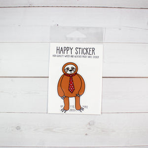 Sloth In A Heart Tie Weather and Water Proof Vinyl Sticker