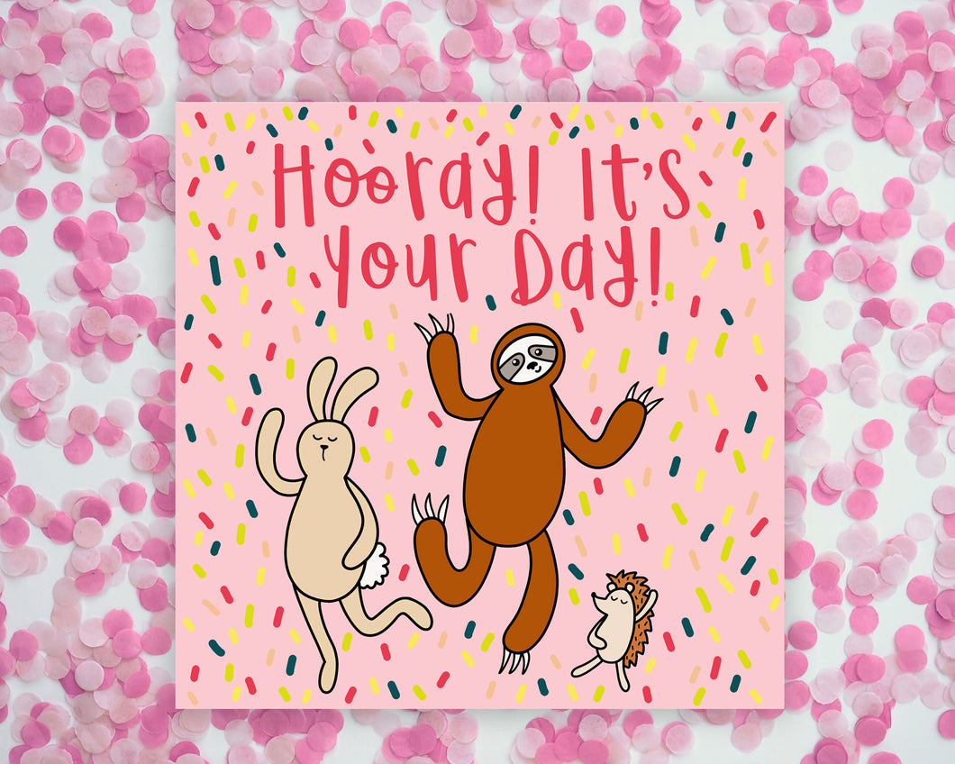 Hooray It's Your Day Dancing Animals Square Mini Print/ Postcard