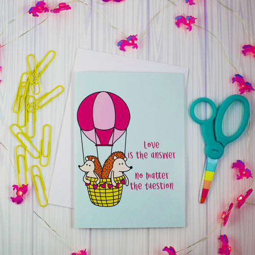 Hot Air Balloon Hedgehogs Love Is The Answer Greeting Card