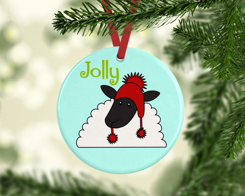 Jolly Sheep Ceramic Christmas Ornament
