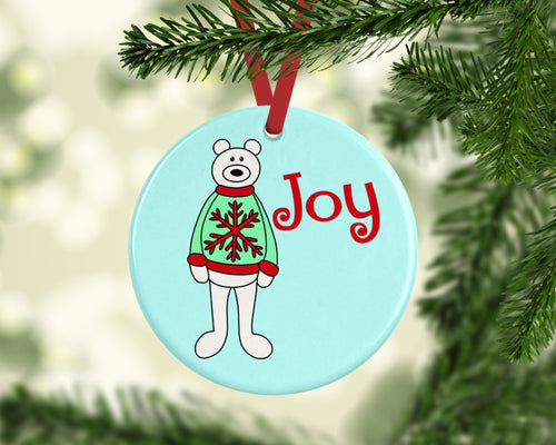 Joy Bear Ceramic Christmas Ornament