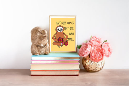 Knitting Sloth 5x7 Mini Art Print/Notecard