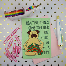 Load image into Gallery viewer, Knitting Pug 5x7 Mini Art Print/Notecard