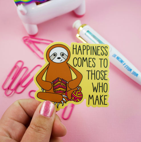 Knitting Sloth Vinyl Sticker