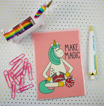 Load image into Gallery viewer, Knitting Unicorn 5x7 Mini Art Print/Notecard