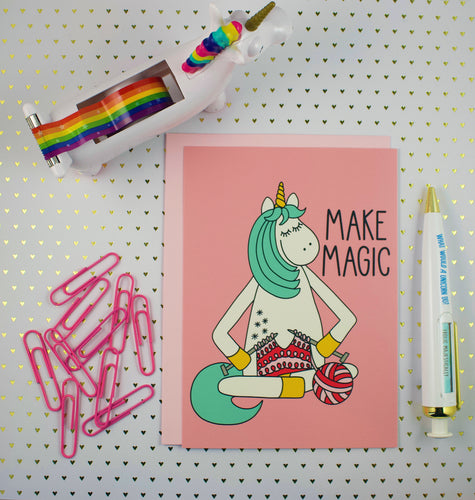 Knitting Unicorn 5x7 Mini Art Print/Notecard