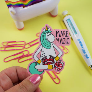 Knitting Unicorn Vinyl Sticker
