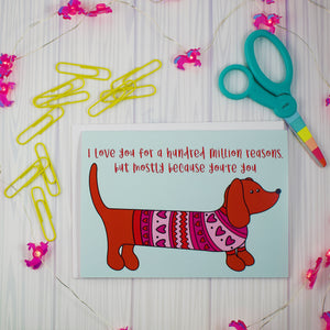 I love You For A Million Reasons Doxie Blank Greeting Card