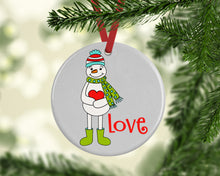 Load image into Gallery viewer, Love Snowman Ceramic Christmas Ornament