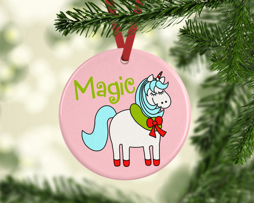 Magic Holiday Unicorn Ceramic Christmas Ornament