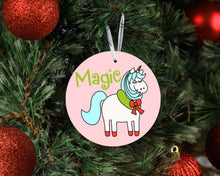Load image into Gallery viewer, Magic Unicorn Ceramic Christmas Ornament
