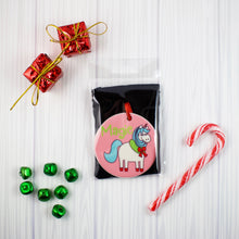Load image into Gallery viewer, Magic Holiday Unicorn Ceramic Christmas Ornament