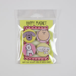 Happy Fluffy Dogs Magnet Set #1