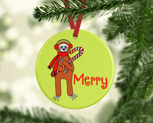 Merry Sloth Ceramic Christmas Ornament