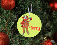 Load image into Gallery viewer, Merry Sloth Ceramic Christmas Ornament