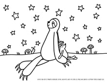 Load image into Gallery viewer, FREE DOWNLOAD! Satchel Sloth and Hattie Hedgehog Watch The Stars Coloring Sheet