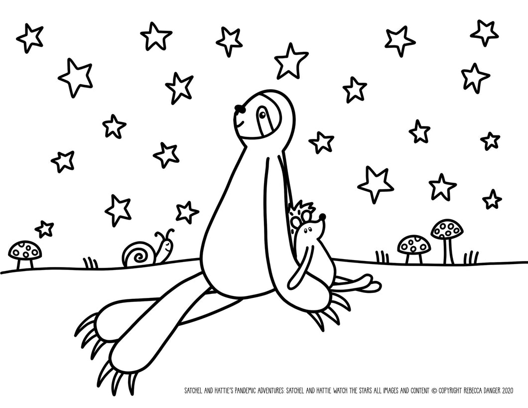 FREE DOWNLOAD! Satchel Sloth and Hattie Hedgehog Watch The Stars Coloring Sheet