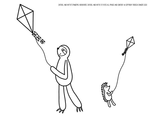 FREE DOWNLOAD! Satchel Sloth and Hattie Hedgehog Fly Kites Coloring Sheet