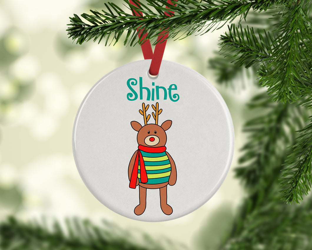 Shine Reindeer Ceramic Christmas Ornament