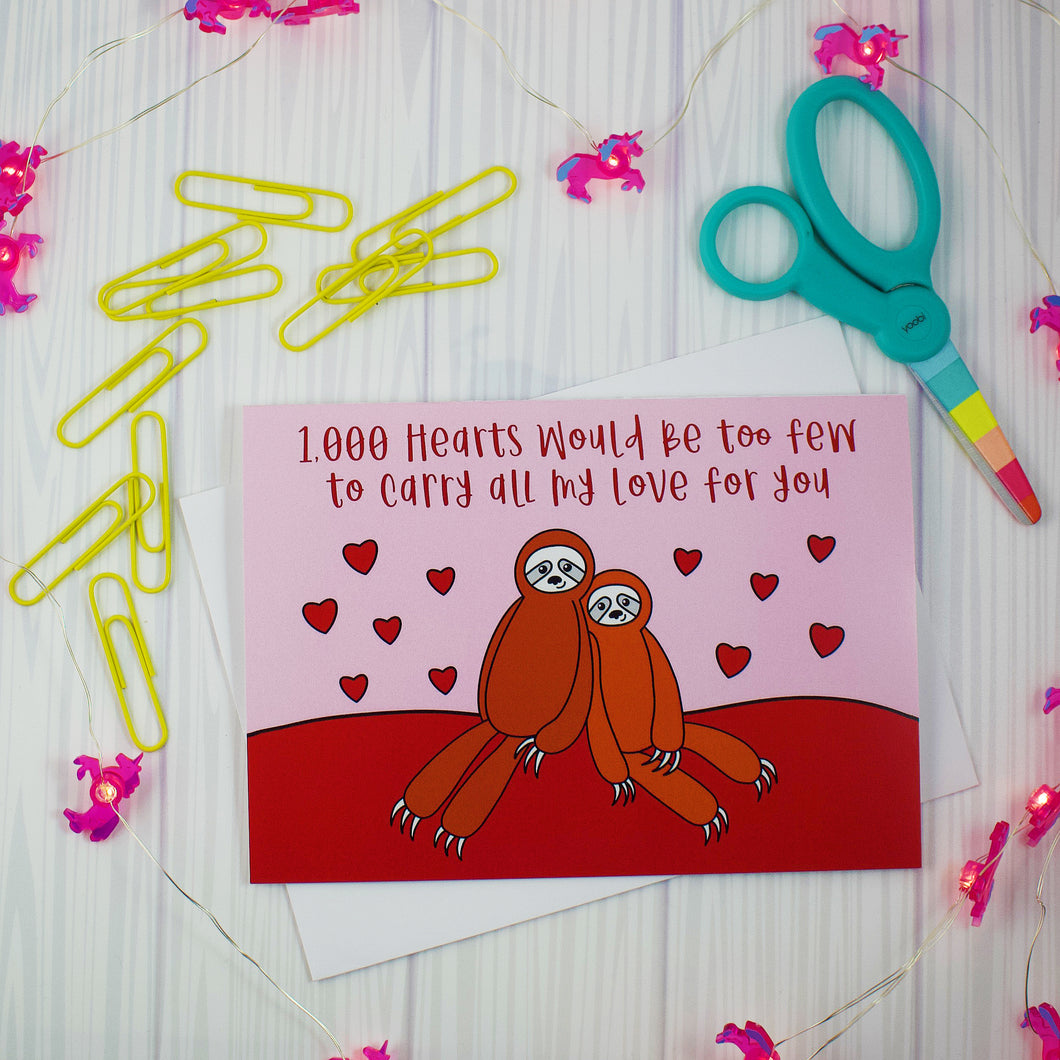 Snuggling Sloths Greeting Card