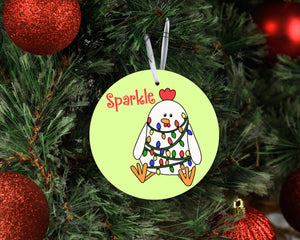 Sparkle Chicken Ceramic Christmas Ornament