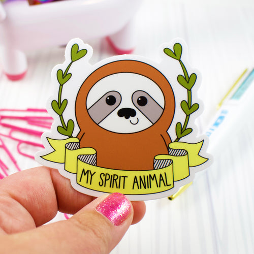 My Spirit Animal Sloth Water and Weather Proof Vinyl Sticker