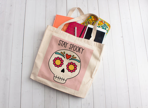 Stay Spooky Sugar Skull Linen Like Tote Bag
