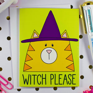 Witch Please Happy Halloween Cat In Witch Hat Blank Greeting Card
