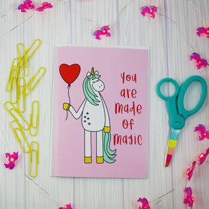 You Are Made Of Magic Unicorn Blank Greeting Card