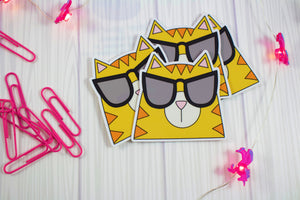 Cool Cat In Sunglasses Vinyl Sticker: Water and Weather Proof!