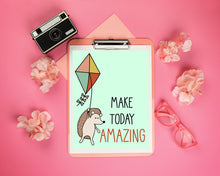 Load image into Gallery viewer, Happy Hedgehog On Kite: Make Today Amazing Art Print