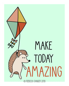 Happy Hedgehog On Kite: Make Today Amazing Art Print