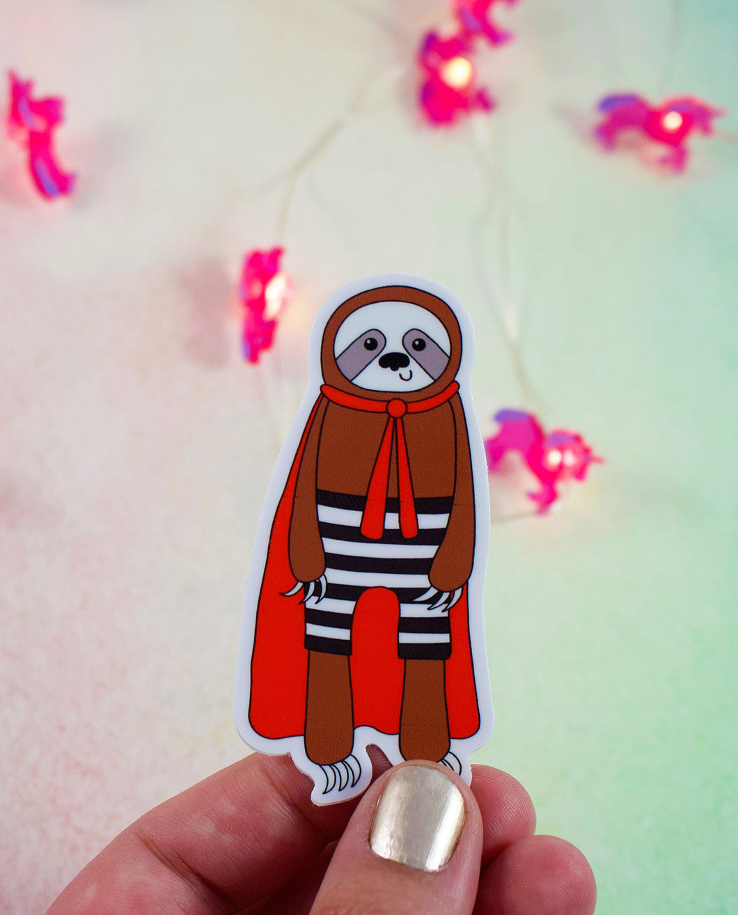 Superhero Sloth Vinyl Sticker: Water and Weather Proof!