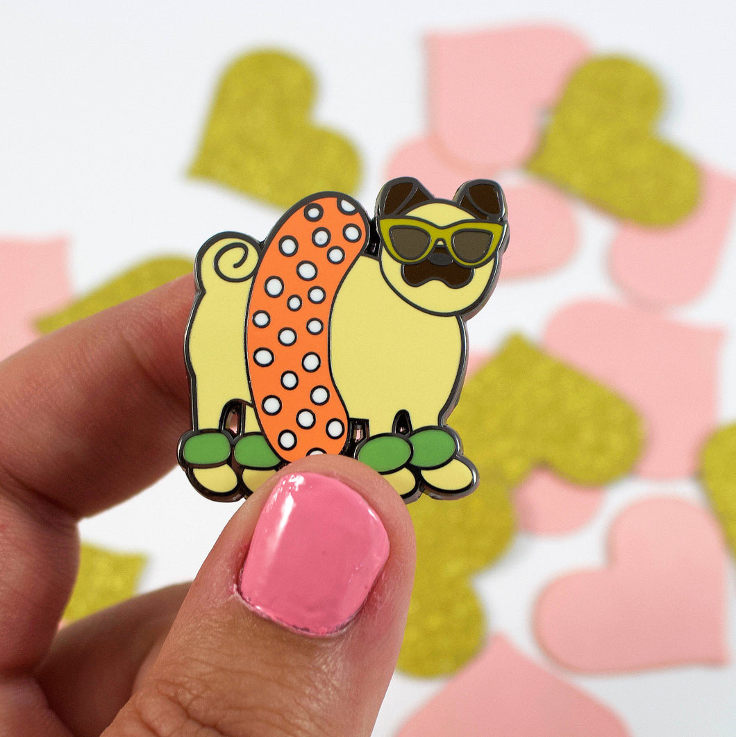 Ready For The Beach Pug Enamel Pin