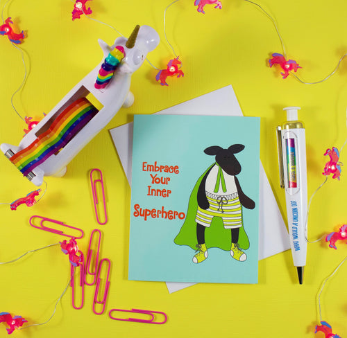 Superhero Sheep: Embrace Your Inner Superhero Greeting Card