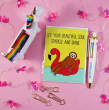 Load image into Gallery viewer, Flamingo Floaty Sloth: Let Your Beautiful Soul Sparkle And Shine Blank Greeting Card