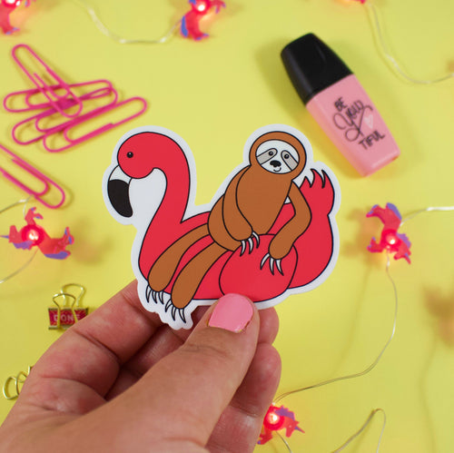 Flamingo Floaty Sloth Vinyl Sticker: Water and Weather Proof!