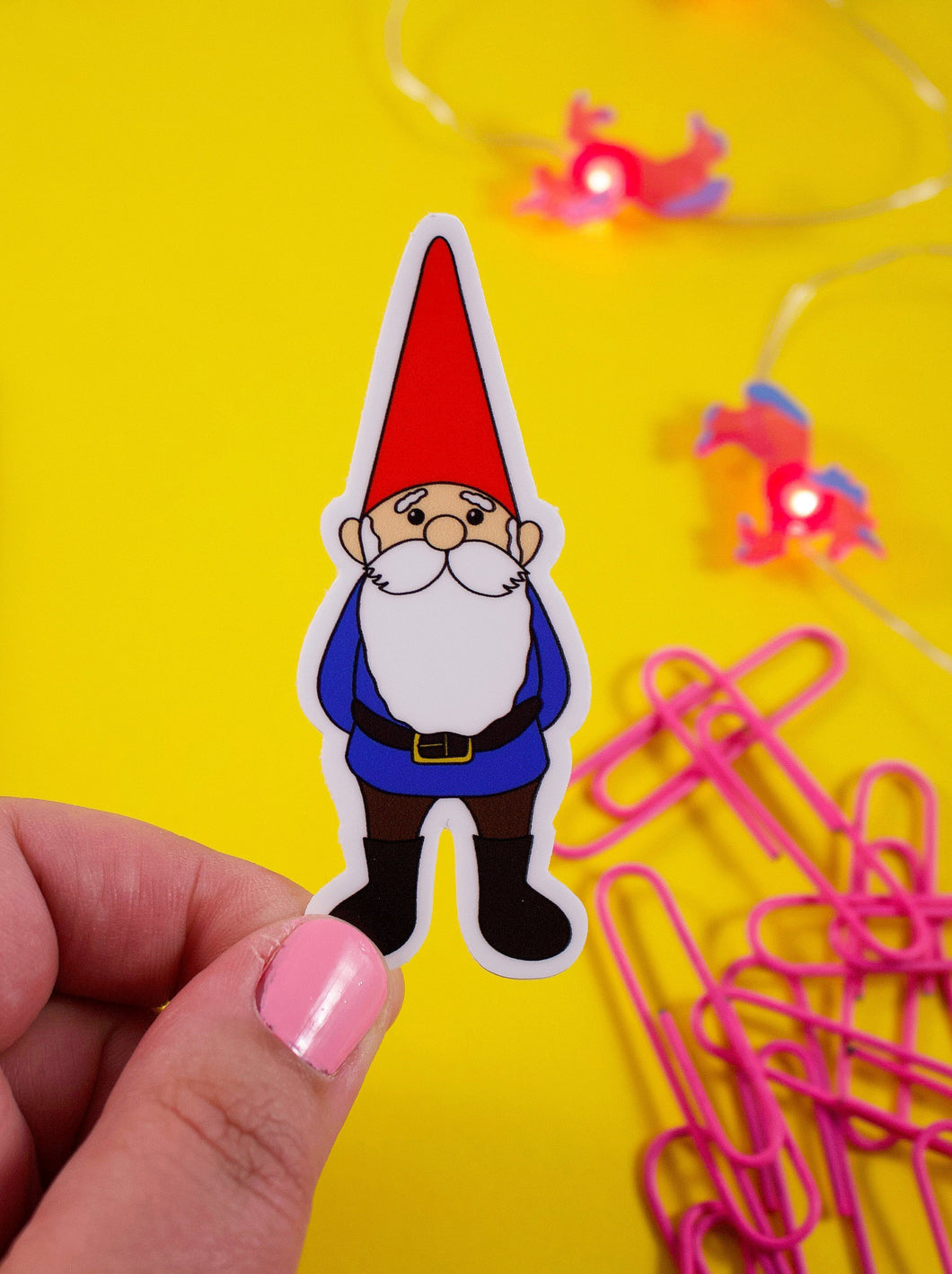 Happy Garden Gnome Vinyl Sticker: Water and Weather Proof!