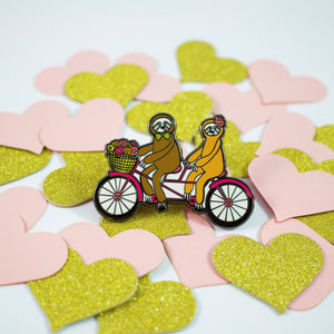 Sloths On A Tandem Bike Enamel Pin