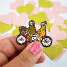 Load image into Gallery viewer, Sloths On A Tandem Bike Enamel Pin